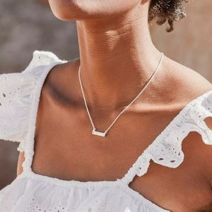 New The 2 Bandits Silver Necklace Opal Bar Dainty